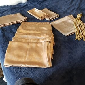 12 Shinny Gold Panel Curtains with 10 Tie …
